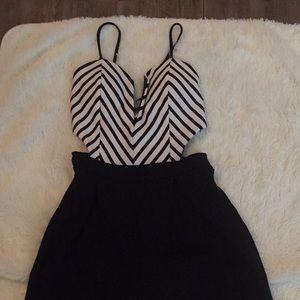 black and white top black bottom